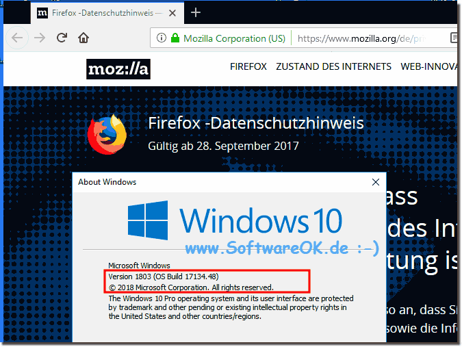 Firefox Browser unter Windows 10 1803!