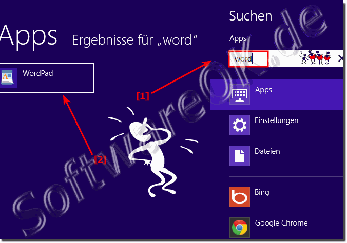 Windows 8 WordPad �ber die Windows-8 suche starten und �ffnen