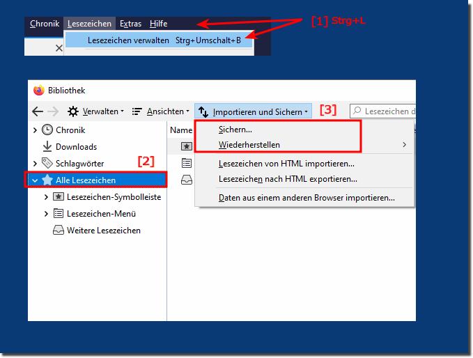 Lesezeichen sichern und wiederherstellen Windows 10 Firefox