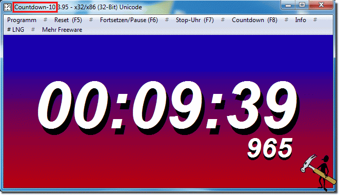 Programm Parameter Windows-Countdown 10 Minuten!
