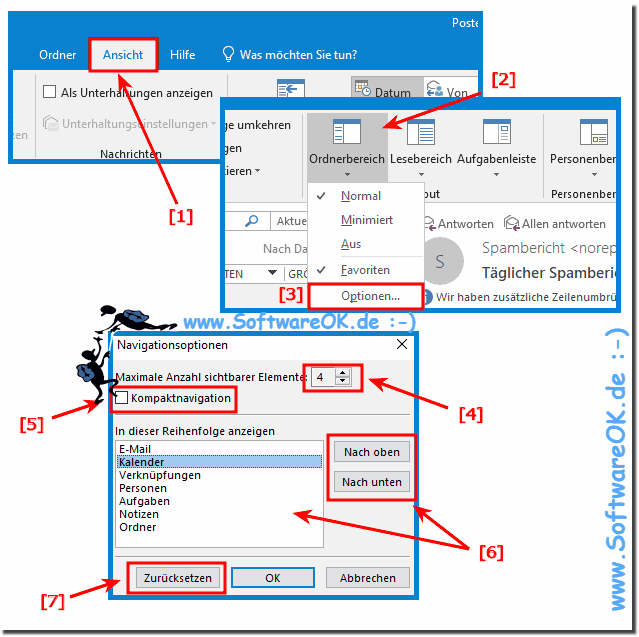 Outlook Favoriten im Navigationsbereich!