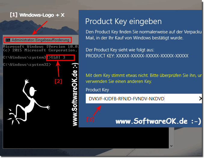 Ändern des Product Keys via SLUI-3!