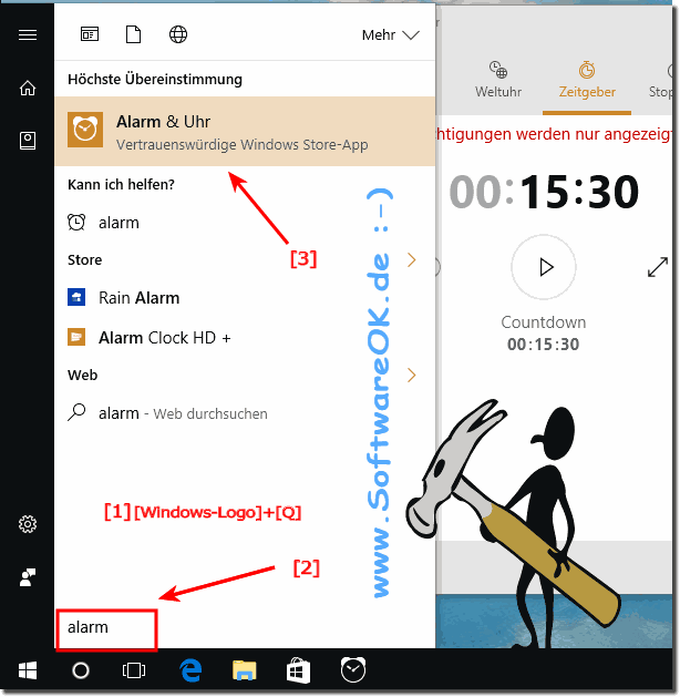 Alarm, ,Stoppuhren, Zeitgeber in Windows 10!