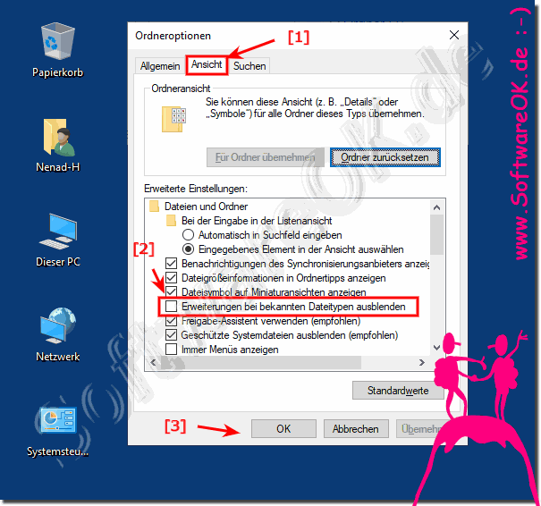 Date-Endungen im Datei-Explorer bei Windows-10!