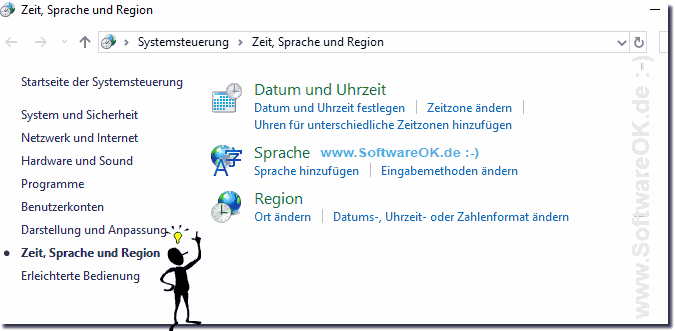 Einstellungen Sprache und Region in Windows-10!