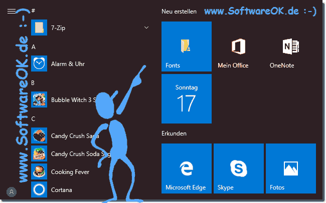 Fonts in Windows-10-Start für den Tablet-Mode!