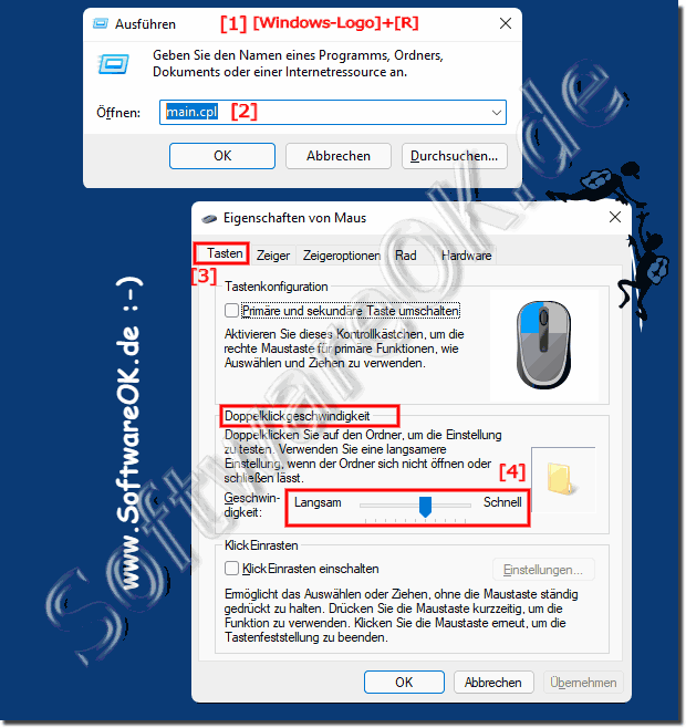 Maus Doppelklick bei Windows 10 einstellen!