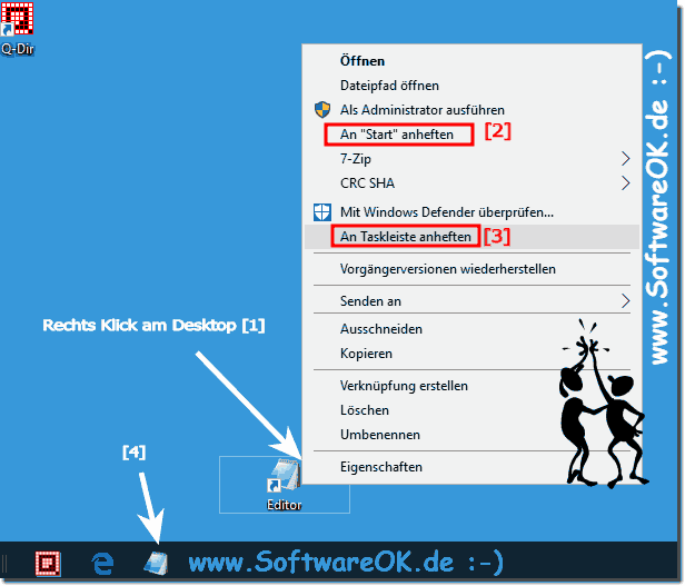 Text Editor in der Windows-10,Taskleiste!