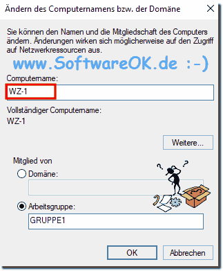 Windows-10 Computer-Namen WZ-1!