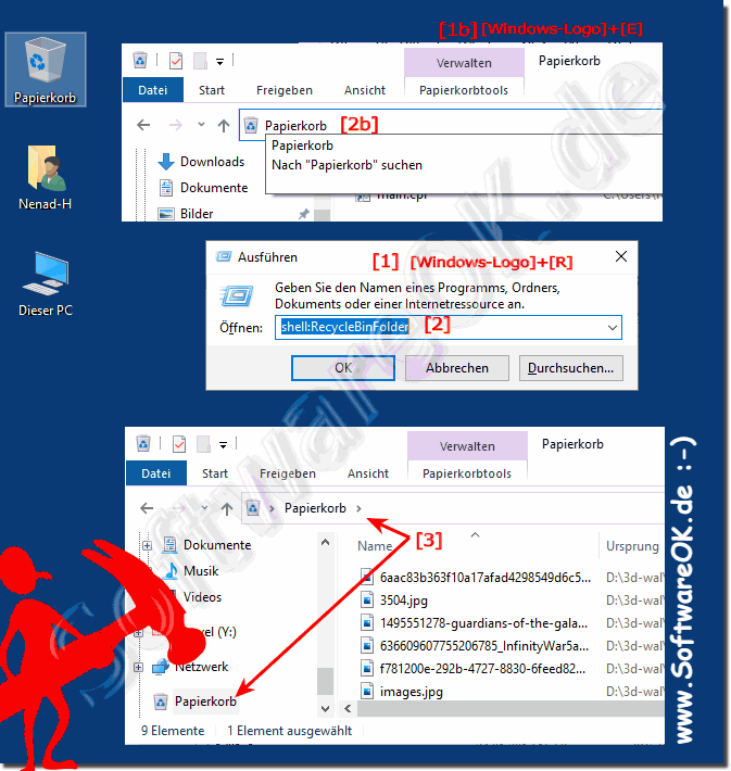 Windows 10 Papierkorb öffnen!