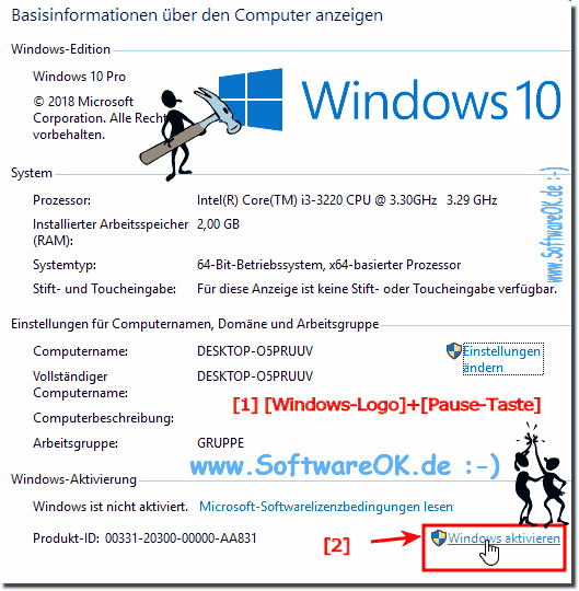 Windows 10 aktivieren!