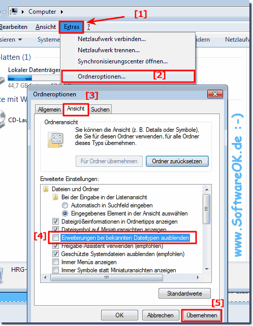 Dateiendungen ändern in Windows-7