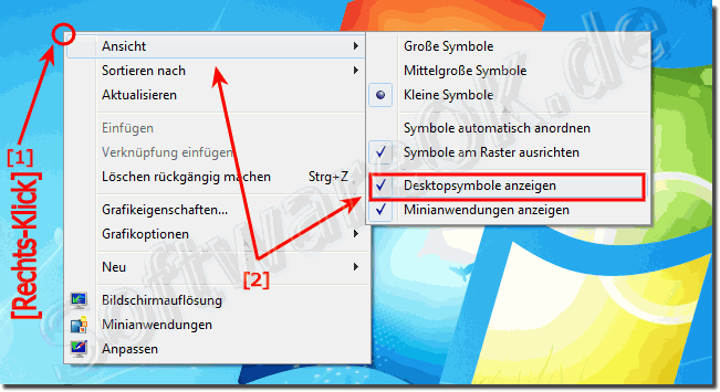 Desktop Icons anzeigen ausblenden in Windows!