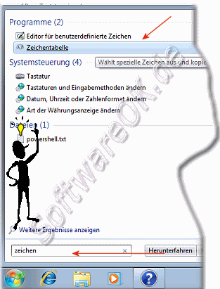 Zeichentabelle in Windows-7 �ffnen