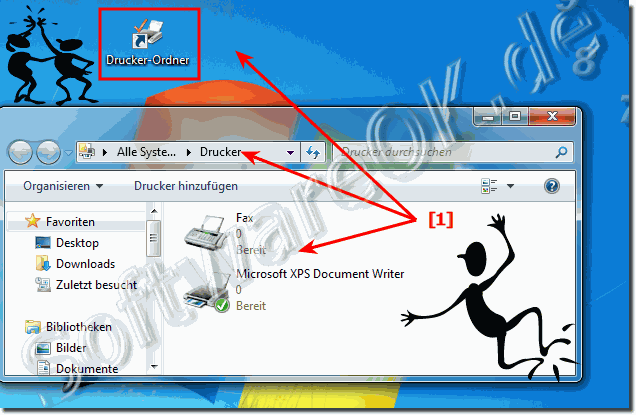 Drucker Verkn�pfung am Windows 7 und 8 Desktop!