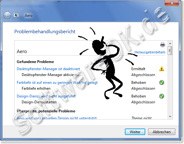 Problembehandlungsbericht von Aero in Windows-7