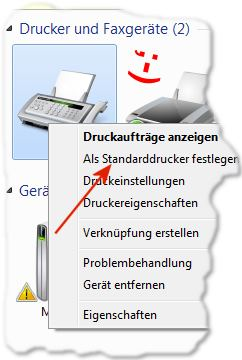 Standarddrucker festlegen in Windows 7