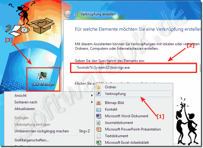 Task-Manager Verknüpfung am Windows-7 Desktop!