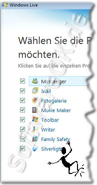 Windows 7 Live Programme Auswahl