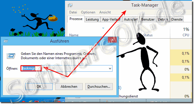 Task-Manager �ber das Ausf�hren Fenster in Windows 8.1 oder 8 starten!