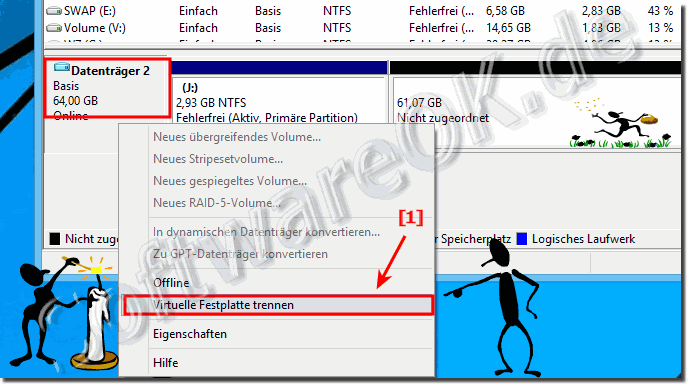 Trennen der VHD via Datentr�gerverwaltung in Windows!