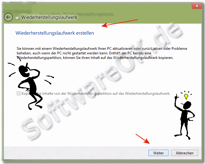 Windows-8 'Assistenten für das Wiederherstellungs-Laufwerk' (start-diskete, boot-CD)