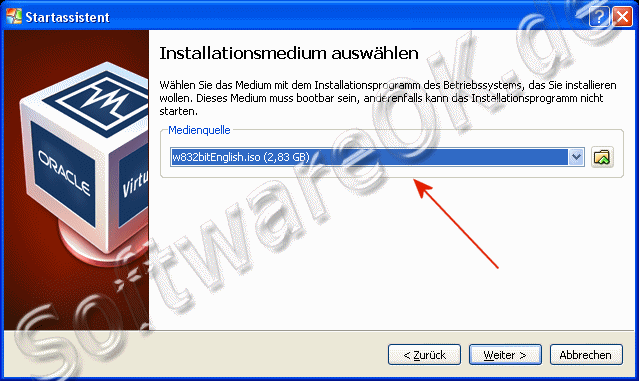 Windows-8 Installationsmedium auswählen