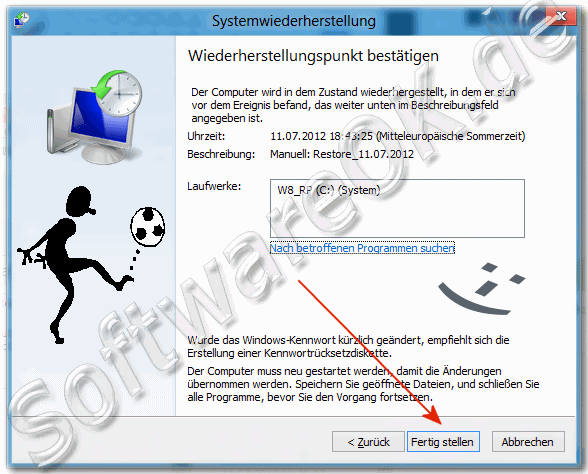 Windows-8 Wiederherstellungspunkt best�tigen