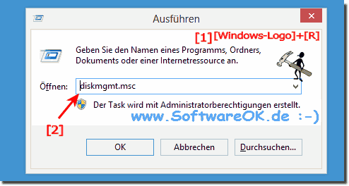 Windows-8 Datentr�gerverwaltung starten