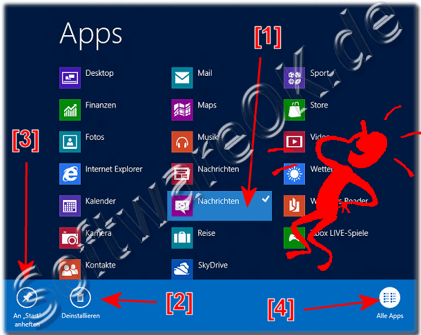 Windows 8 App-s (Anwendungen) zum Win8 Start-Men� hinzuf�gen