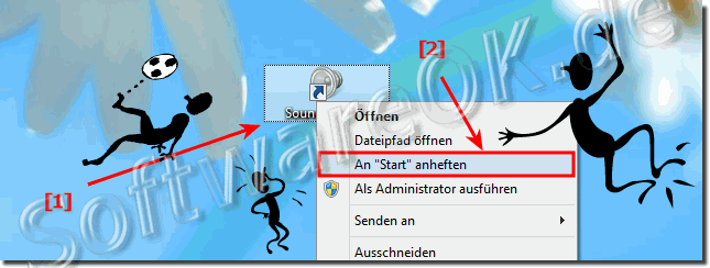Windows 8 Sound an Start-Menü Anheften