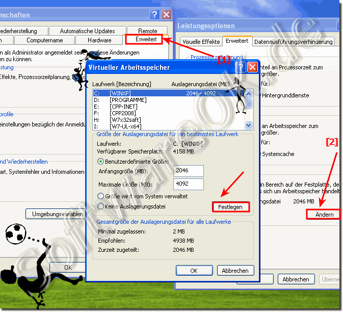 Auslagerungsdatei pagefile.sys in Windows-XP anpassen!