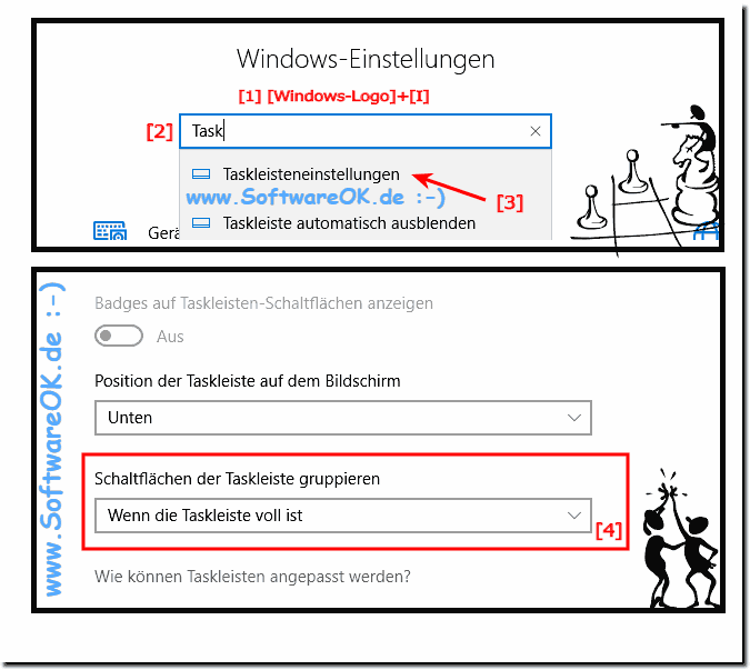 Taskleiste Gruppierung Einstellung Windows-10!