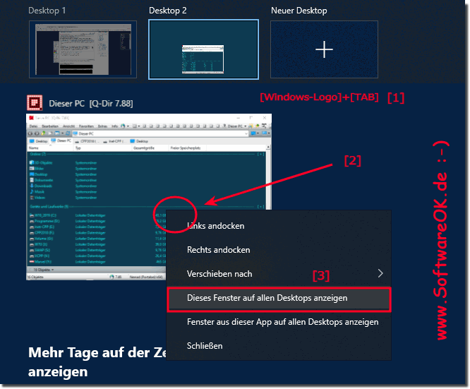 Ein Programm Fensters unter alle virtuellen Desktops in Windows 10 sehen!