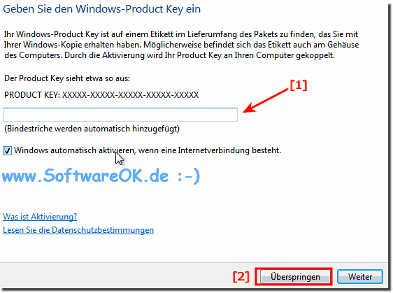Produkt-Key Windows 7 Überspringen!