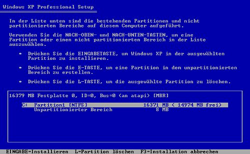 XP Installations Partition