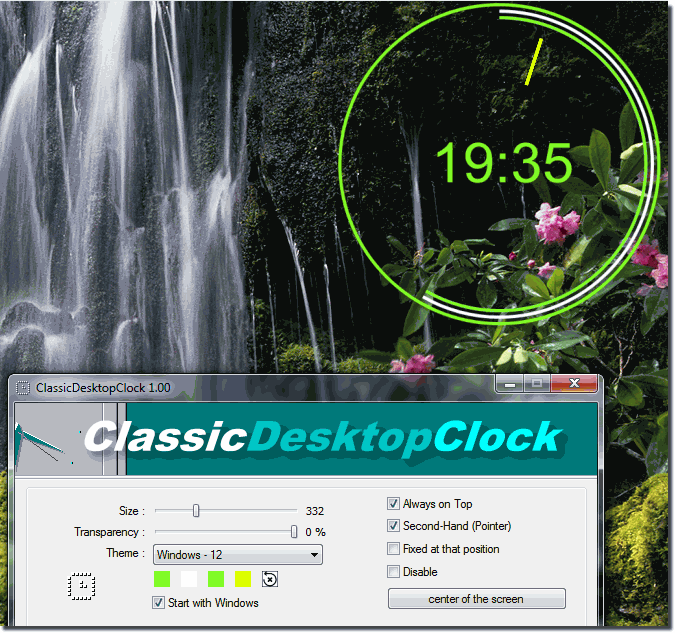Green Nature Desktop Classic Clock on Windows-7