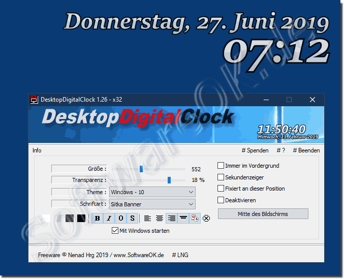 Schlichtes Digitale Desktop Uhr auf Windows 10, 8.1, 7!