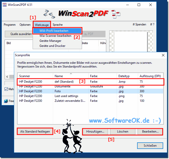 Windows Standard (Default) Scann-Profil festlegen!