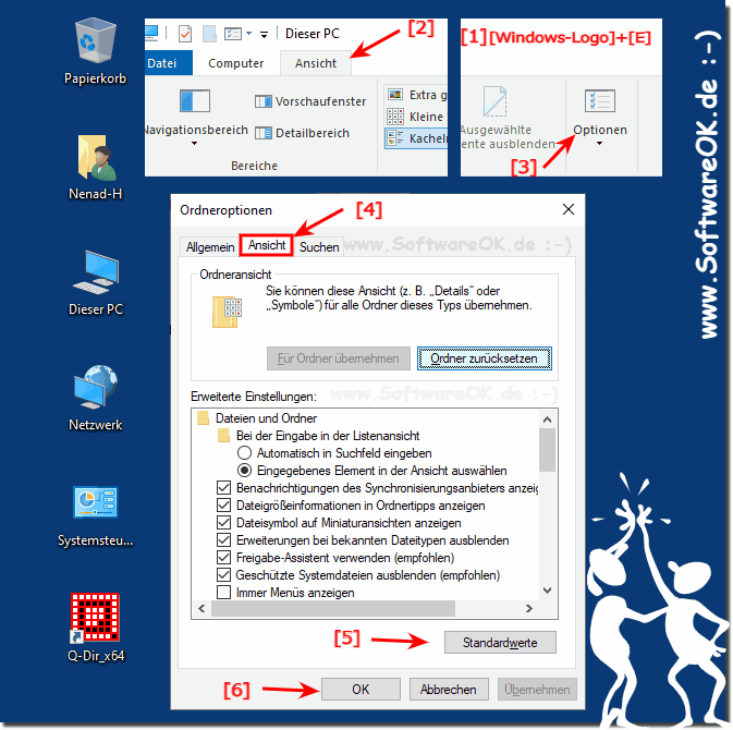 Windows Explorer auf Ordner-Optionen Standardwerte!
