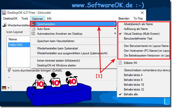 DesktopOK Speicher-Optionen zb unter Windows-10!