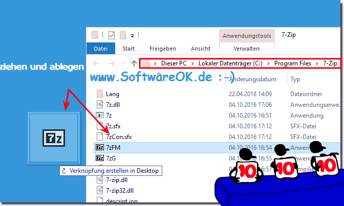 7-Zip Desktop Verknüpfung Windows 7/8.1/10!