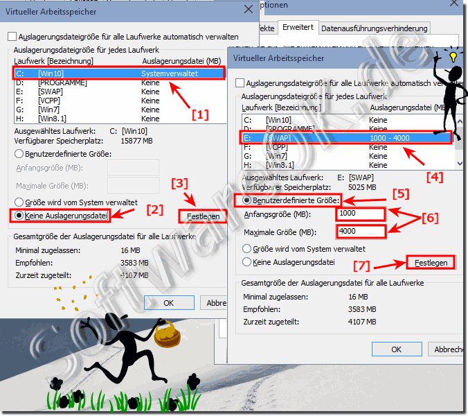 Auslagerungsdatei anpassen (pagefile.sys) in Windows 10!