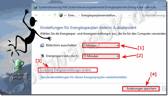 Energiesparmodus Einstellungen in Windows 10!