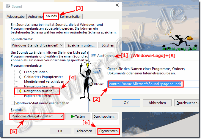 Navigation Klick Sound in Windows 10 aktivieren / deaktivieren!