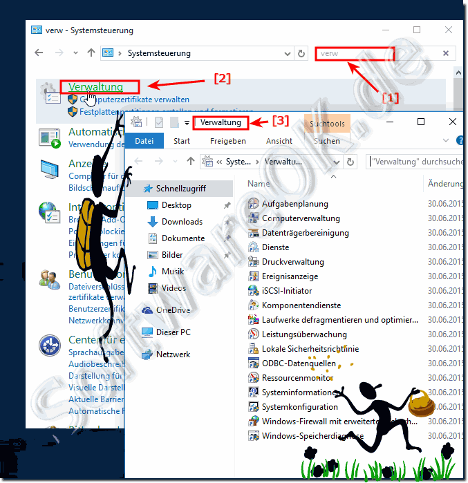 Verwaltung Administrative-Tools in Windows-10 öffnen!