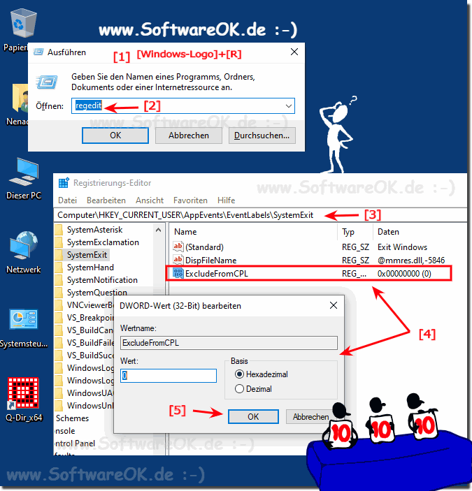 Window-10 Start Sound, Logoff, Logon Registry Einträge!
