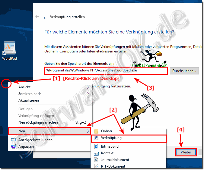 Windows 10 Desktop-Verknüpfung für WordPad!