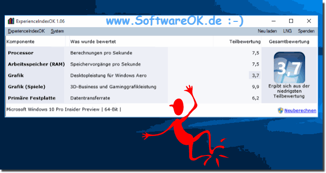 PC-Bewertung Leistungsindex in Windows-10!