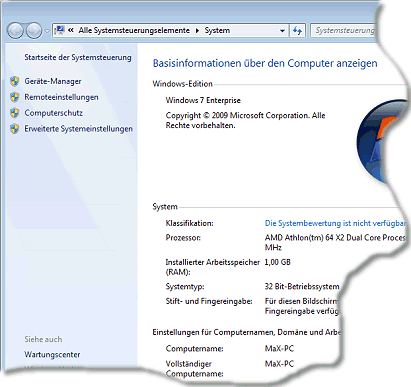 Verwendete Windows 7 Edition